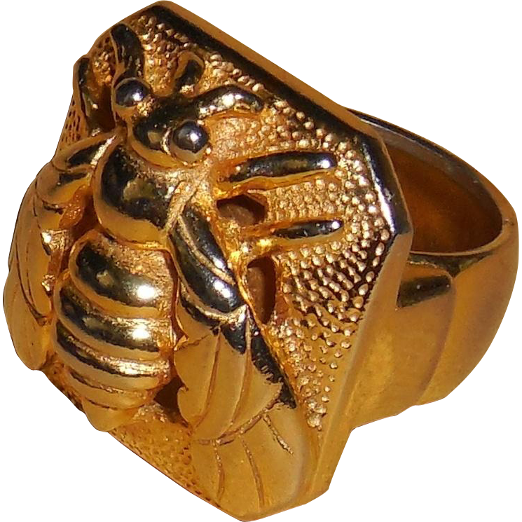 Castlecliff Gold Plated Wasp Unisex Ring | 7.25