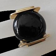 Unisex Vintage Modernist 14 Kt Gold Onyx Ring size 7
