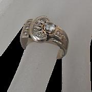 Estate 14 Kt White Gold, White Amethyst, Diamond Ring | size 5.75