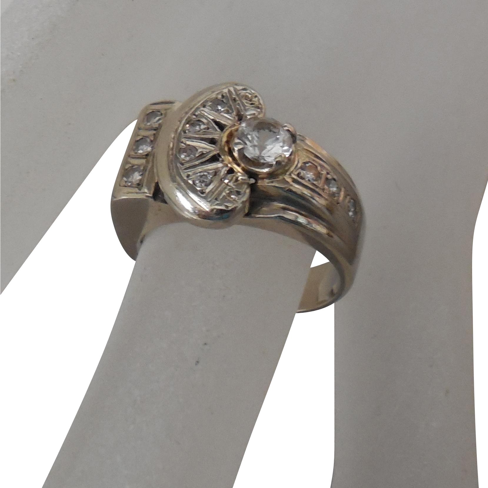 White Gold 14 Kt , White Amethyst, Diamond Estate Ring | size 5.75