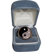 Vintage Yin Yang Ring in Yellow and White Gold with Diamonds and Onyx size 11