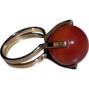 Carnelian Ball on Vintage 9 kt Gold Ring size 5.5