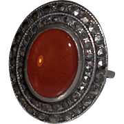 Vintage Carnelian Marcasite Sterling Ring size 6.25