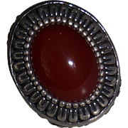 Vintage Sterling Ring with Large Carnelian Colored Stone size 6