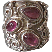 Vintage Sterling Silver Wide Three Amethyst Ring size 7