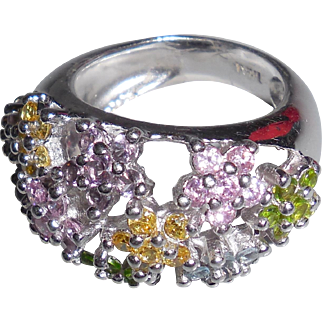 Vintage Sterling Silver Ring with Colored Rhinestones size 6.5