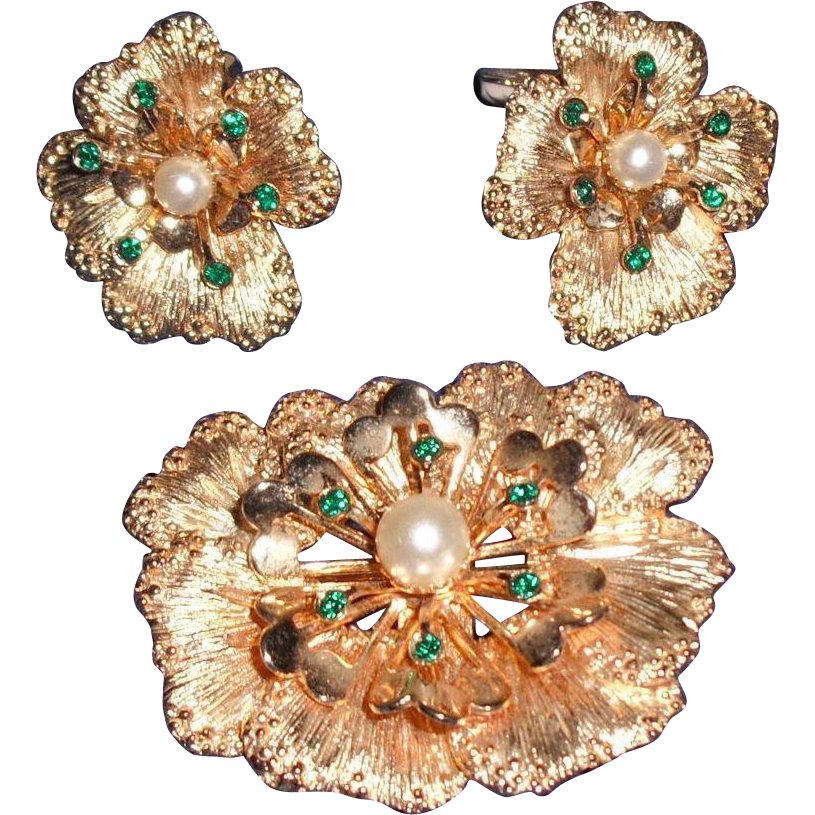 Sarah Coventry Faux Pearl and Faux Emerald Flower Demi Parure (set)