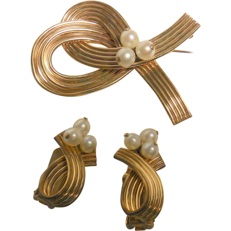 Imperial Pearl (IPS)Gold Filled and Cultured Pearls Pin and Clip Earrings