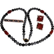 """Snowflake Obsidian, Onyx and Red Jasper Beaded Necklace with Matching Pin and Clip Earrings – 32.5"""""""