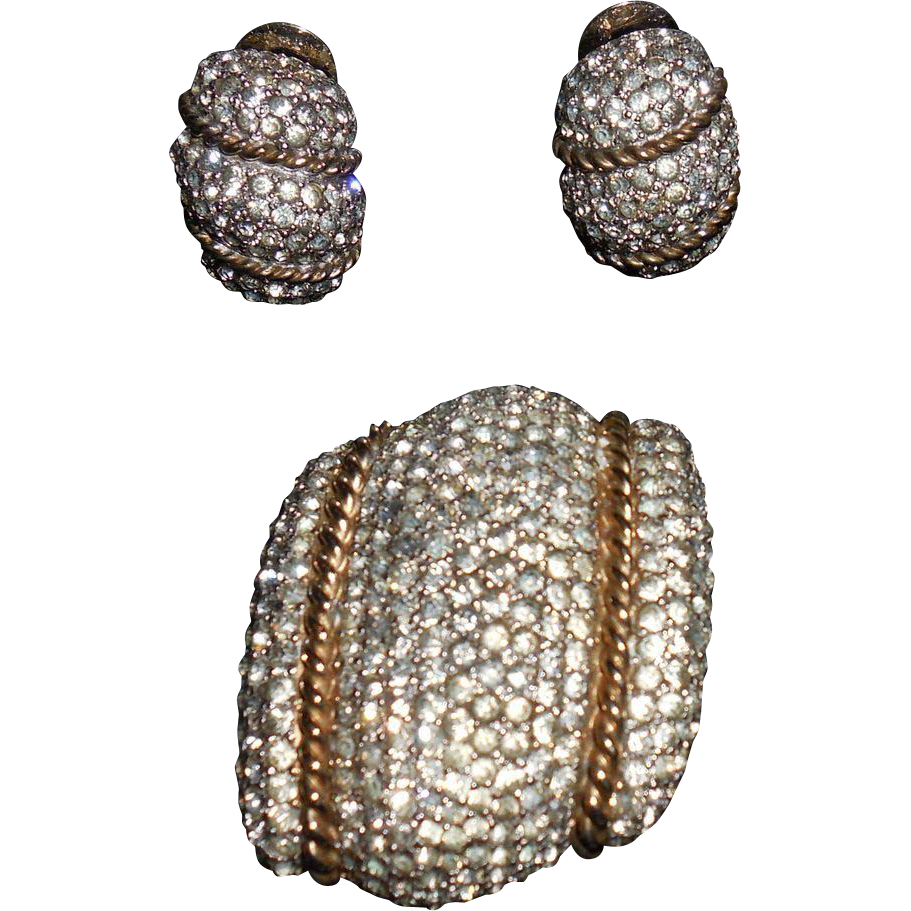 Vintage Pin Brooch and Clip Earrings Set by R De Rosa