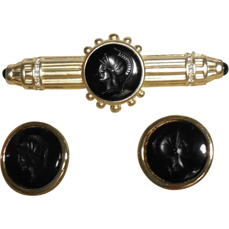 Louis Stern Intaglio Bar Pin Brooch and Pierced Earrings