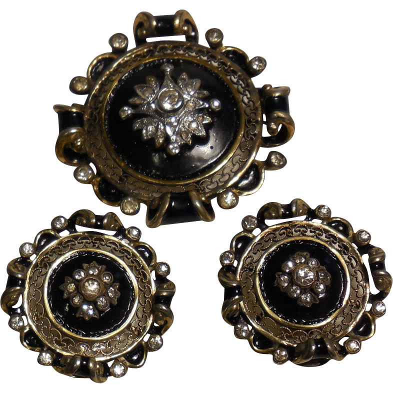 Vintage Vermeil Pin Brooch and Clip Earrings Set by R De Rosa