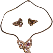 Trifari Butterfly Pendant Necklace with Clip Earrings.