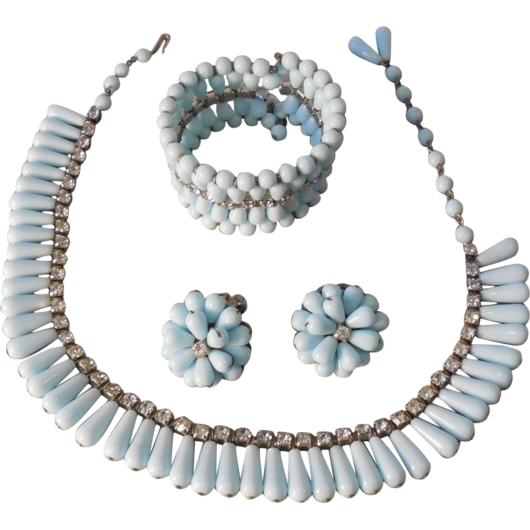 Hobe Powder Blue Milk Glass and Rhinestone Parure