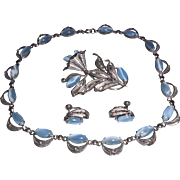 Vintage Alice Caviness Sterling Silver and Blue Faux Moonstone Parure