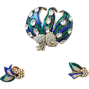 Vintage Ciner Demi-Parure Blue and Green Enamel Brooch Pin Earrings with Pave Rhinestones