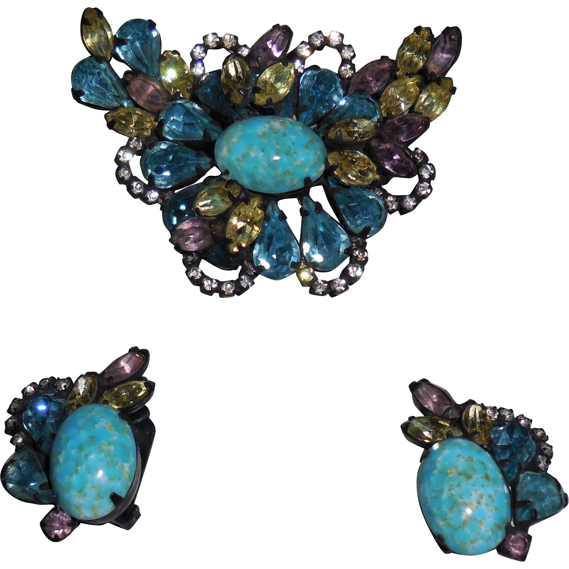 Vintage Hattie Carnegie Japanned Pin Brooch and Clip Earrings