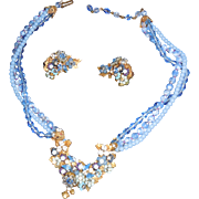 Robert Gold Plated Earrings and Necklace in Pale Blue Art Glass Beads with Rhinestones