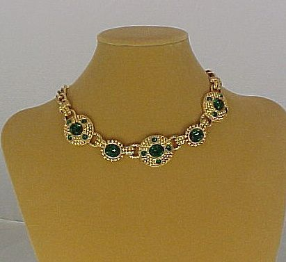 Swarovski Vintage Gold Plated Faux Emerald Necklace.
