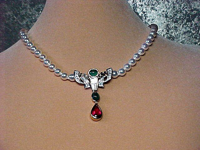 Swarovski Faux Pearl/Faux Ruby/Faux Emerald Necklace - Elegant!