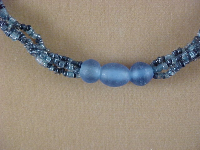 Vintage Necklace – Seed Beads w/Blue Glass Beads