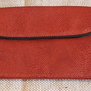 Rust Reptile Printed Leather Wallet/Clutch Purse