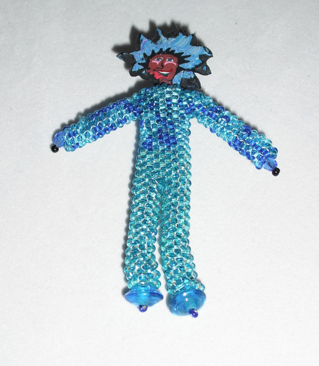 Beaded Doll Pin - Whimsy #2 Aqua and Blue Seed Beads