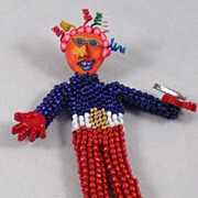 Beaded Doll Pin – Super Hero - Whimsy #3 Red/White/Blue Seed Beads