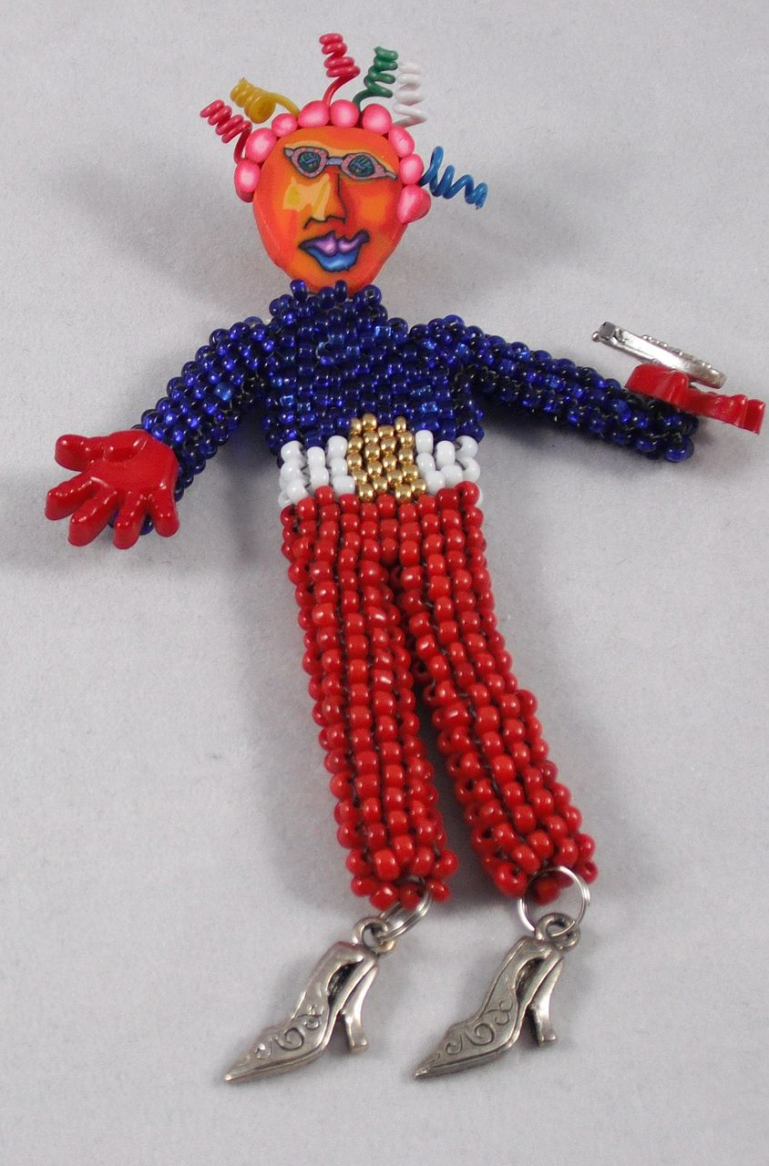 beaded doll pin whimsy 3 white blue
