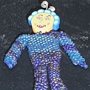 Beaded Doll Pin – Whimsy #4 Blue/Blue Iris Seed Beads