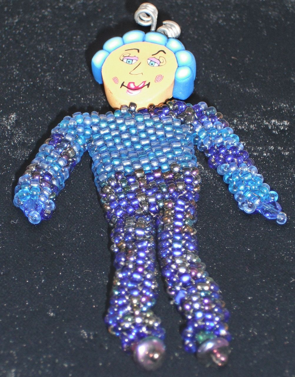 beaded doll pin whimsy 4 blue blue iris seed from