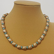 """Napier Metal Beaded Necklace with Rondelles – 17.25"""""""