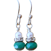 Petite Dangle Turquoise Glass and Swarovski Pearl Earrings