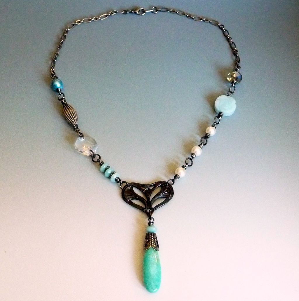 Nouveau Heart And Amazonite Necklace - Red Tag Sale Item from rubylane-sold on Ruby Lane