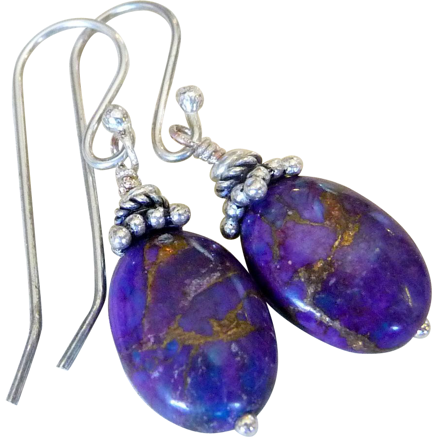 mohave purple turquoise sterling silver earrings sold on