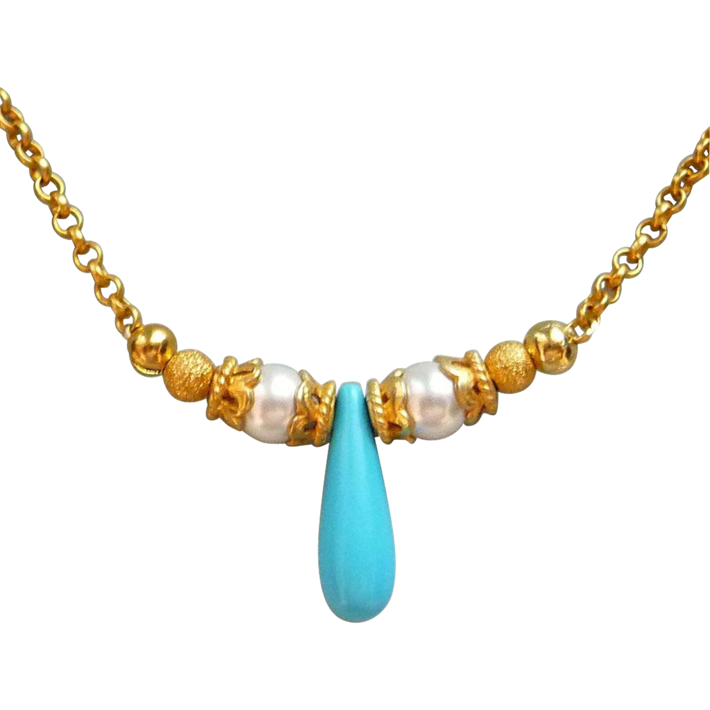 Turquoise And Swarovski Pearl 18k Gold Vermeil Necklace