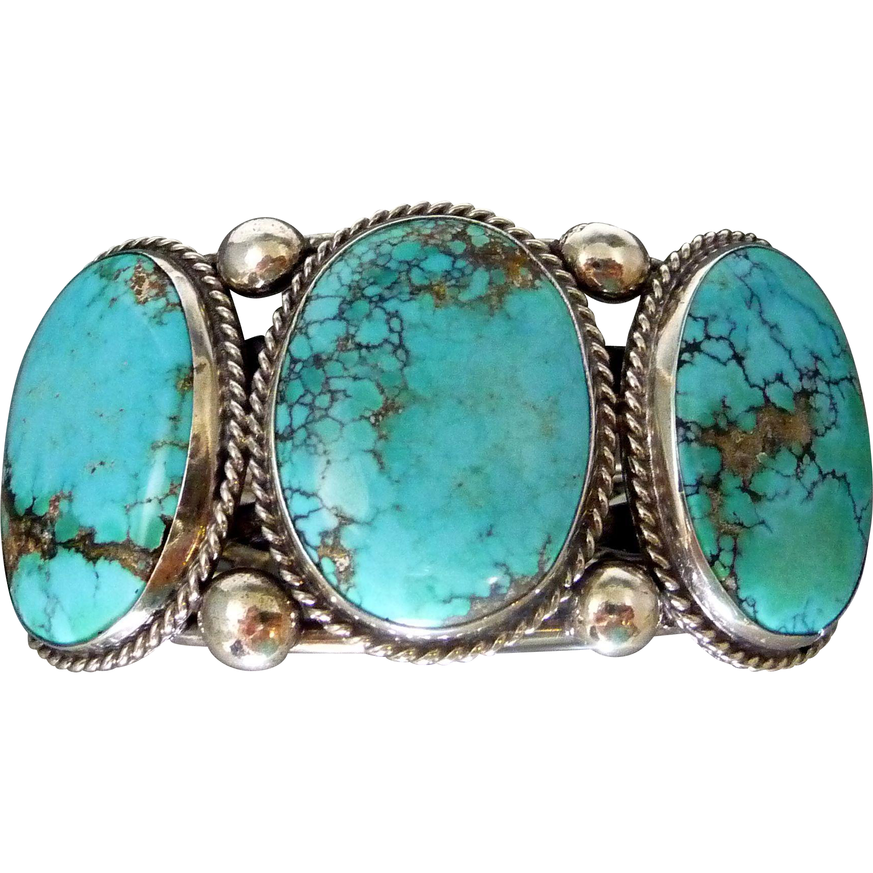 Vintage navajo turquoise sterling silver cuff bracelet for Sterling silver navajo jewelry