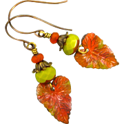 Fall Leaf Czech Glass Earrings