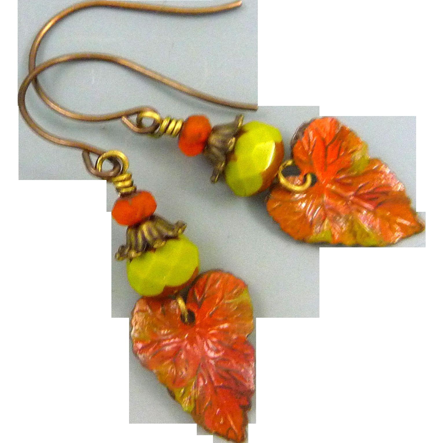 Fall Leaf Czech Glass Earrings