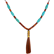 Bullet Shell Necklace With Brown Suede Tassel