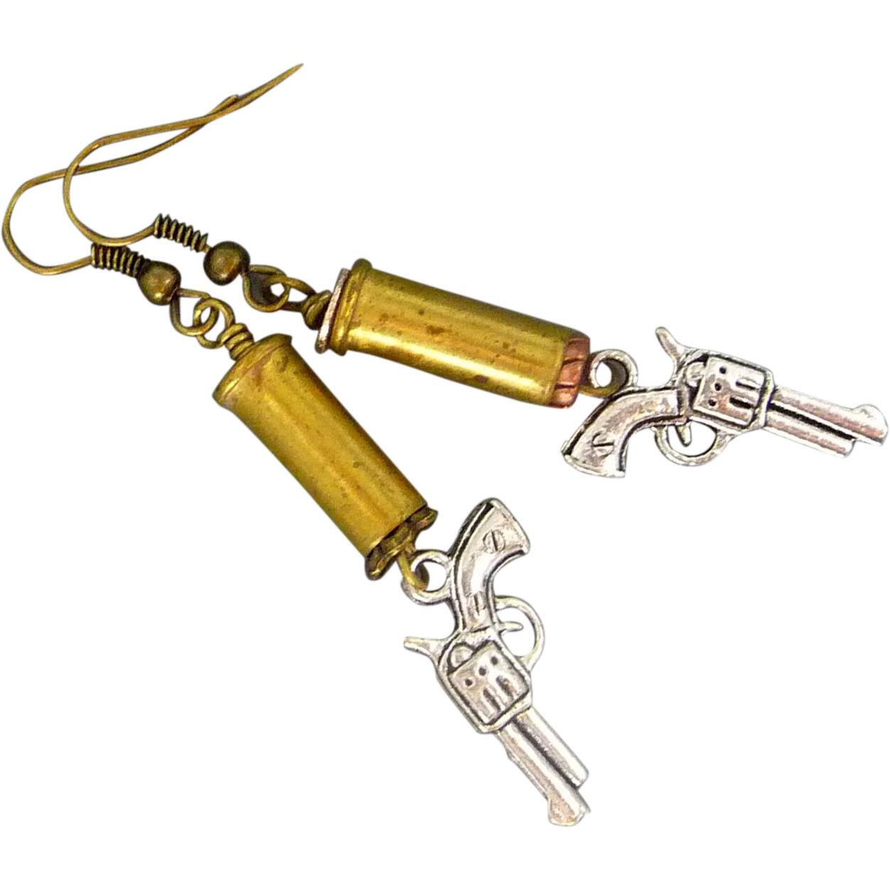 Re Purposed Bullet Shell Earrings With Gun Charm