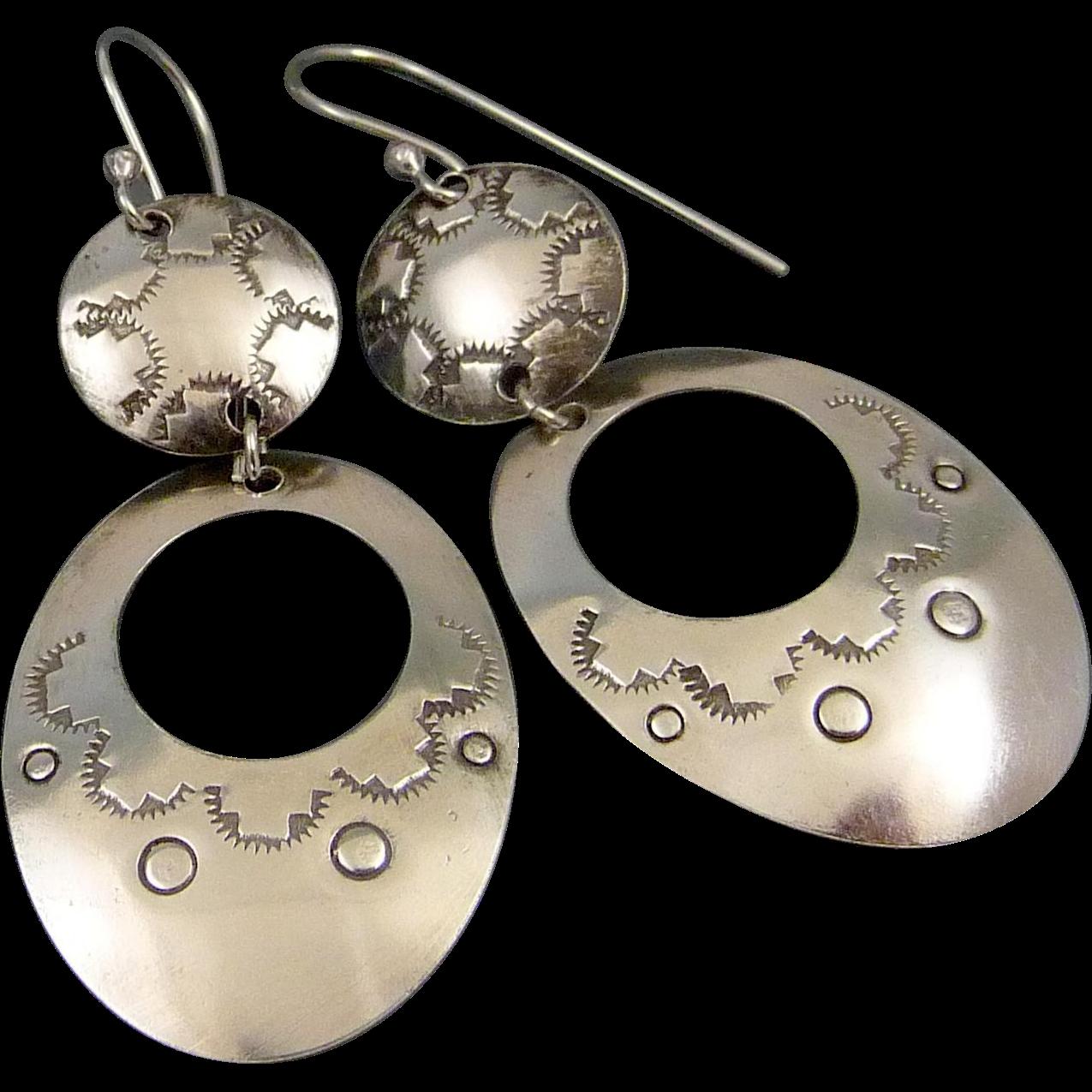 Sterling Silver Southwestern Stamped Earrings