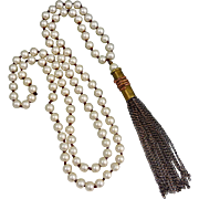 Hand Strung Freshwater Pearl Necklace With A Bullet Shell Casing Tassel Dangle