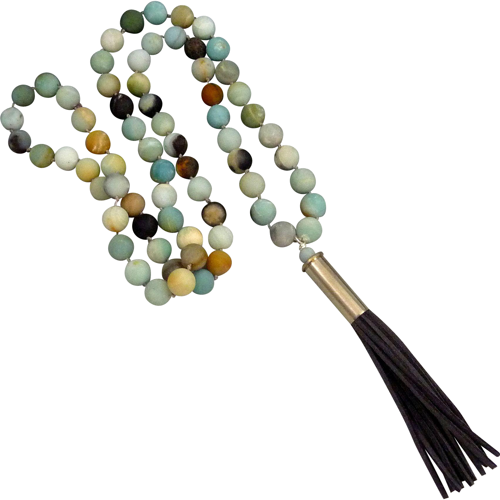 Amazonite Bullet Shell Casing Necklace With Gray Suede Tassel