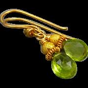 Petite Peridot 18K Gold Vermeil Earrings