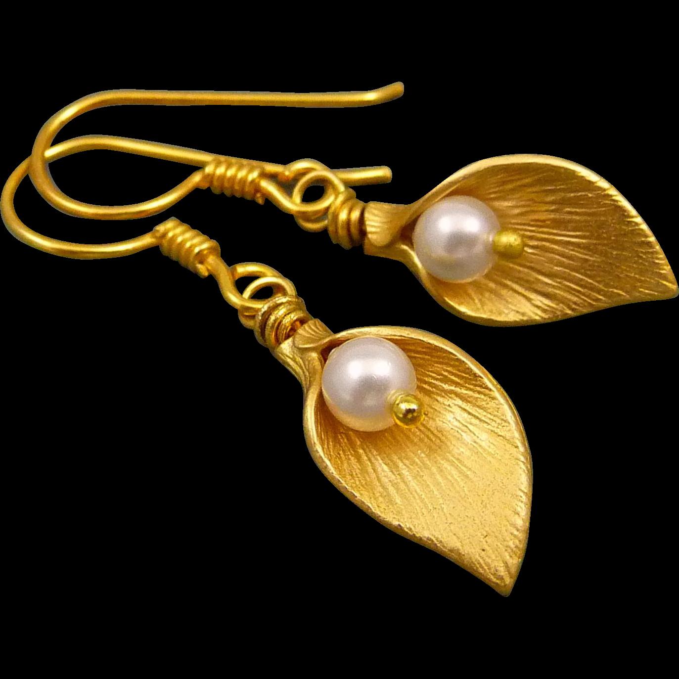Freshwater Pearl Matt Gold Calla Lily Earrings