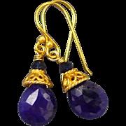 Sapphire Faceted Briolette 18K Gold Vermeil Earrings