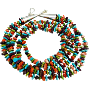 Turquoise, Gaspeite And Spiny Oyster Multi Strand Necklace