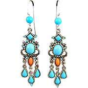 Vintage Turquoise And Coral Carol Duplaise Chandelier Earrings