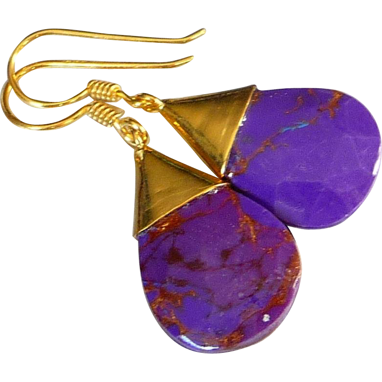 purple turquoise earrings with 14k gold overlay from